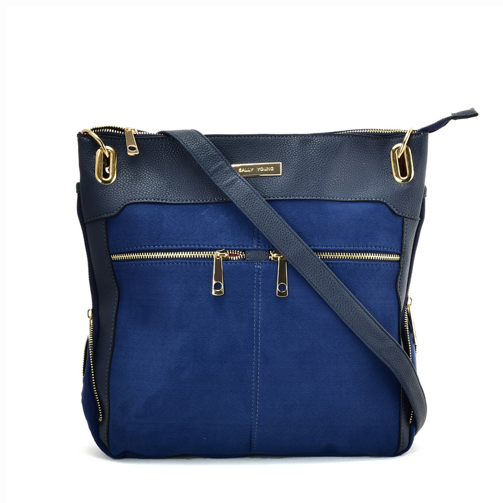 SY2204 BLUE - Handbag With Symmetrical Zipper Design