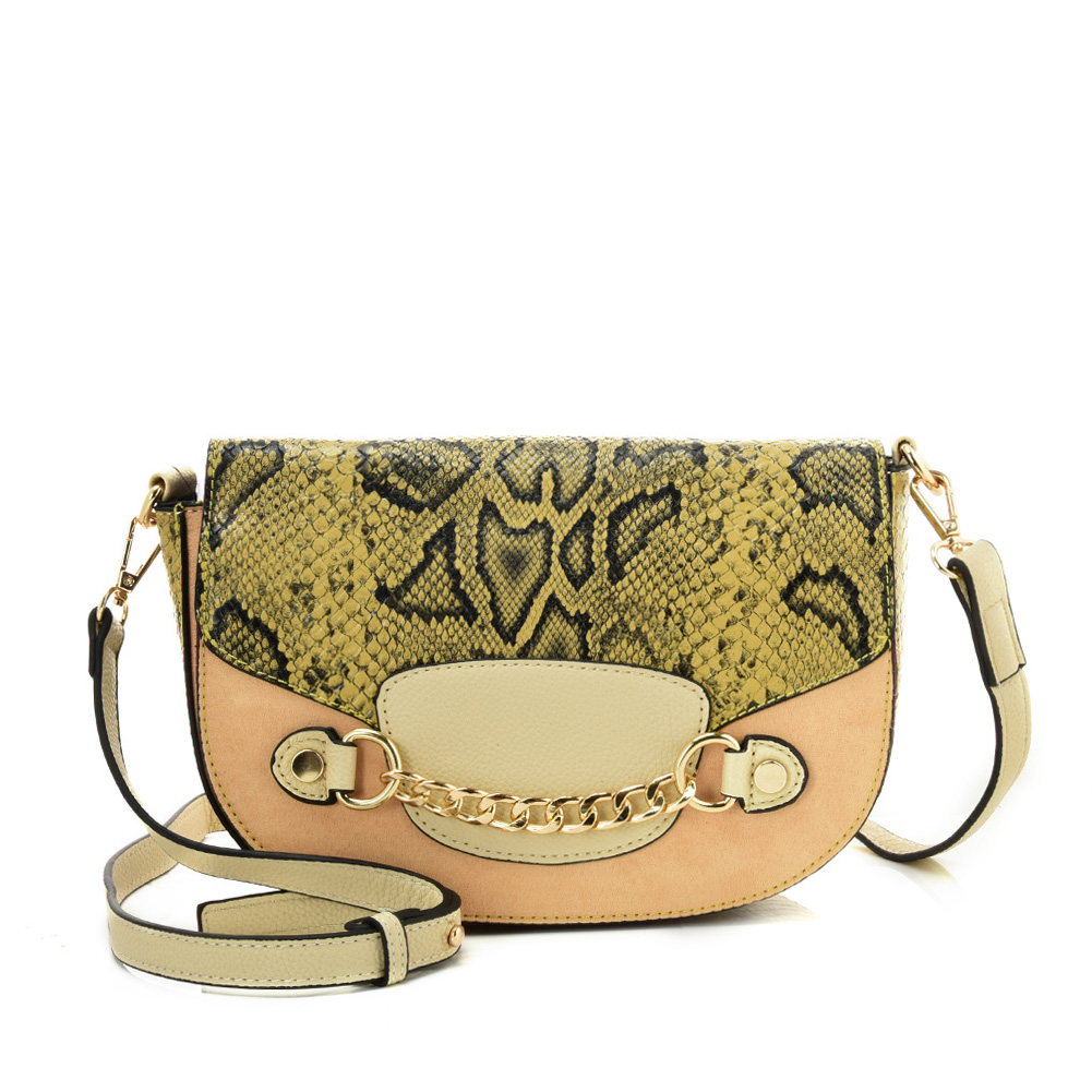 SY2207 BEIGE - Leather Saddle Bag With Hardware Ring Chain Decoration