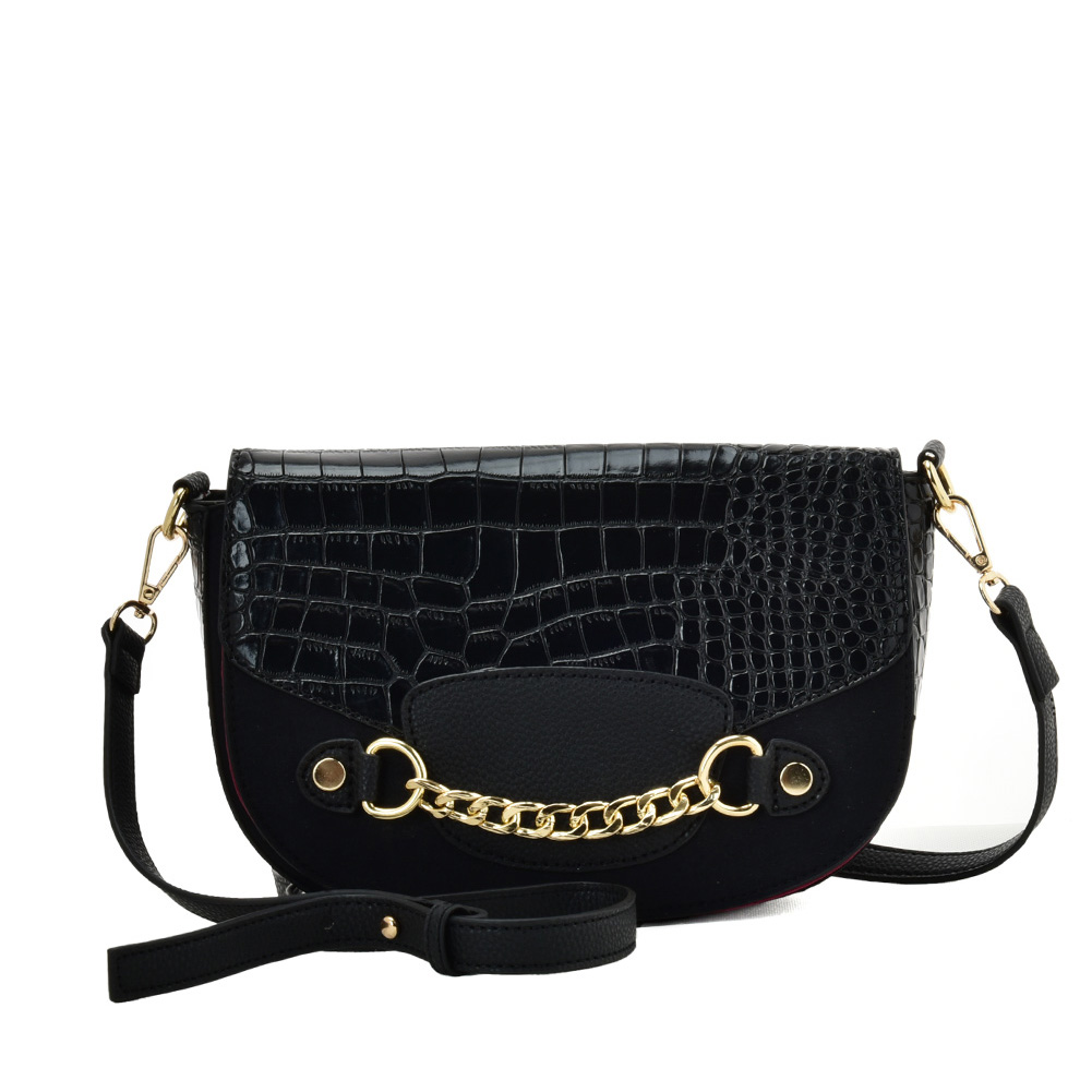 SY2207 BLACK - Leather Saddle Bag With Hardware Ring Chain Decoration