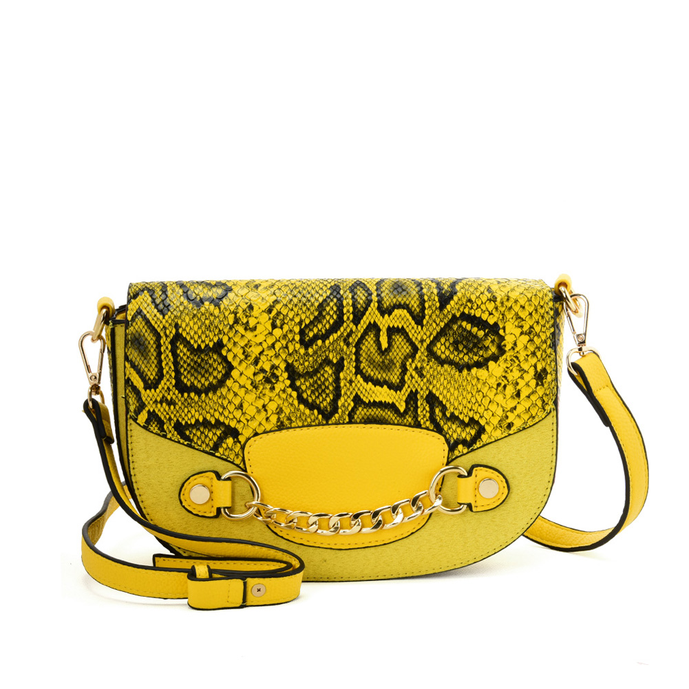 SY2207 YELLOW - Leather Saddle Bag With Hardware Ring Chain Decoration