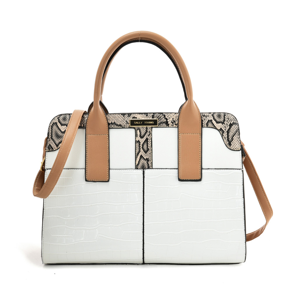 SY2209 BEIGE - Simple Handbag With Stone Grain For Women
