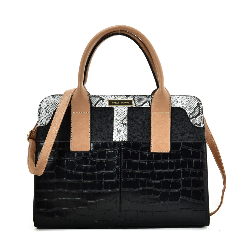 SY2209 BLACK - Simple Handbag With Stone Grain For Women