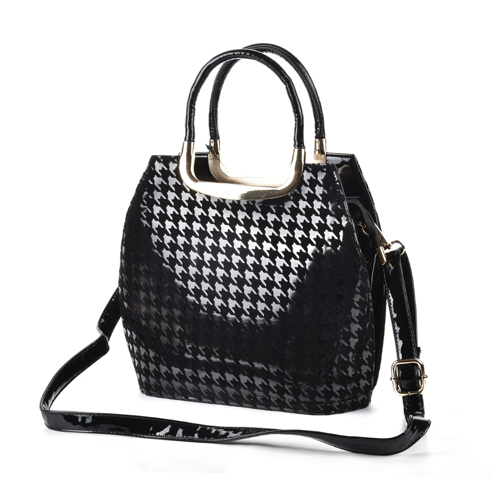 VK1438-5 Black - Metal Tote Bag In Houndstooth Design