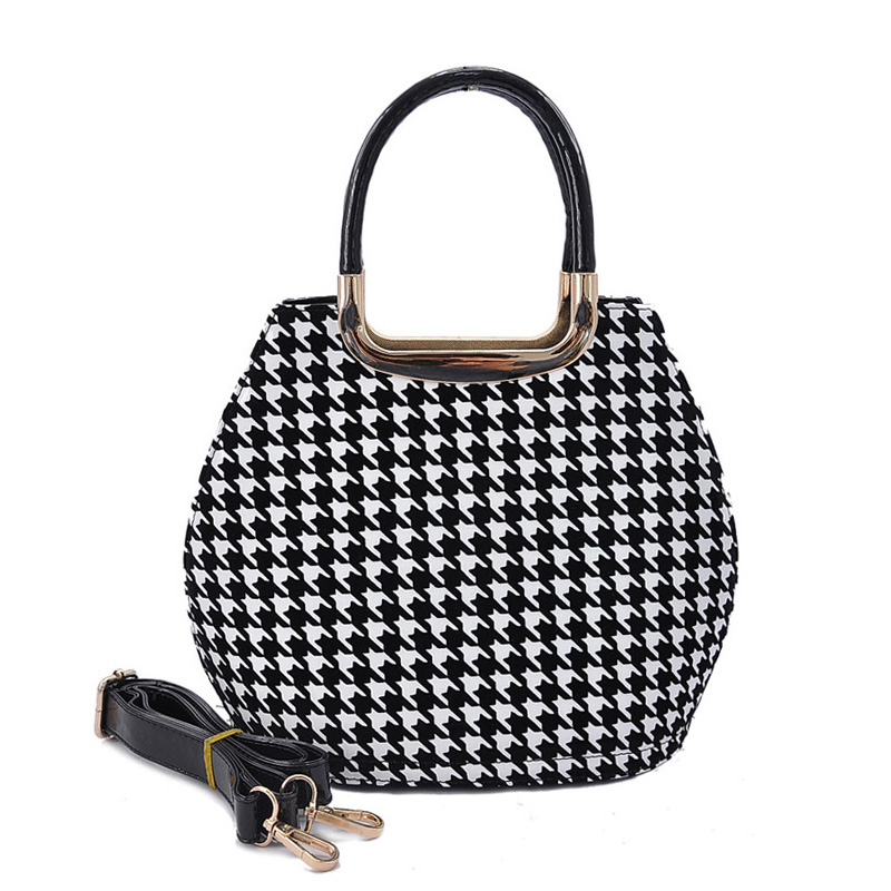 VK1438-5 White - Metal Tote Bag In Houndstooth Design