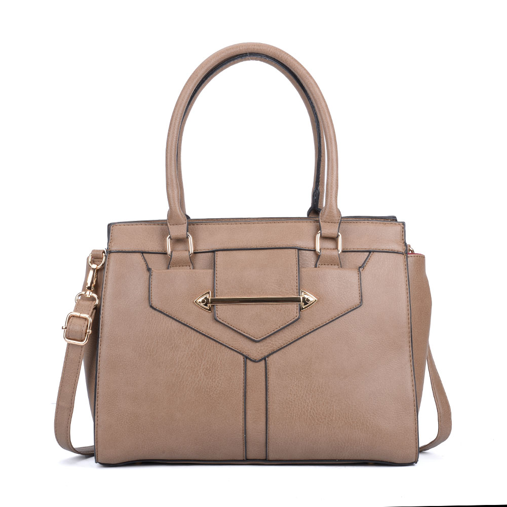 VK2060 Taupe - New Women Oversized Metal Detail Tote Bag
