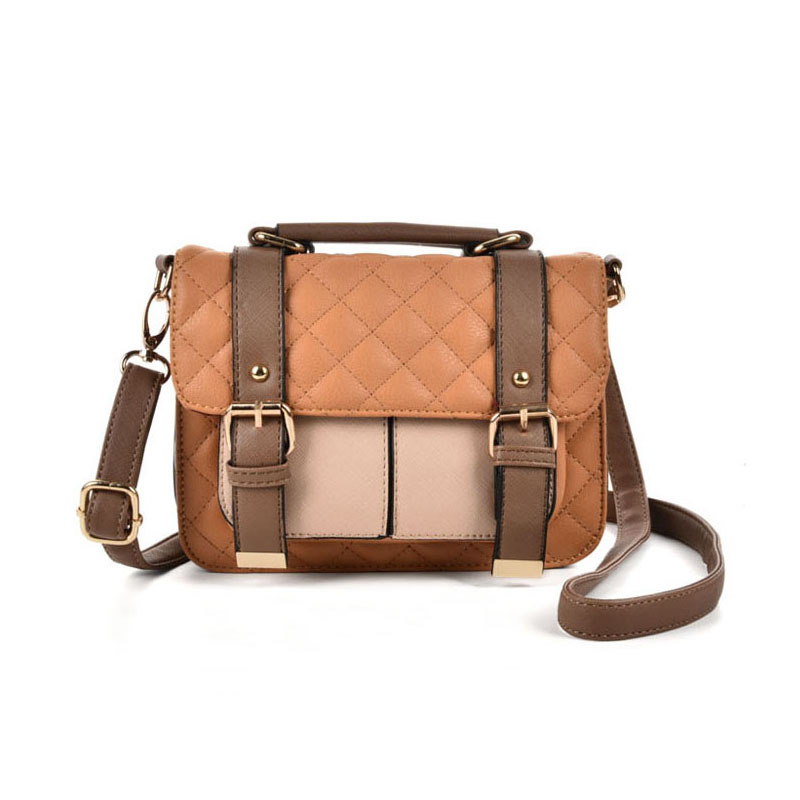 VK2076 Brown - Patchwork Quilted Satchel With Handle And Cross Body Strap