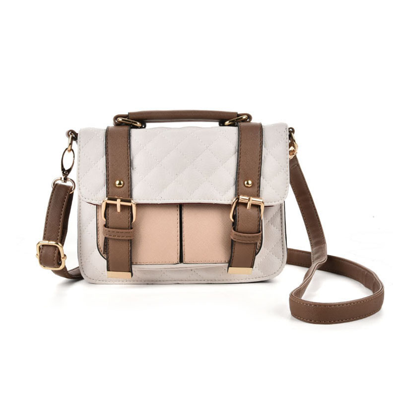 VK2076 White - Patchwork Quilted Satchel With Handle And Cross Body Strap