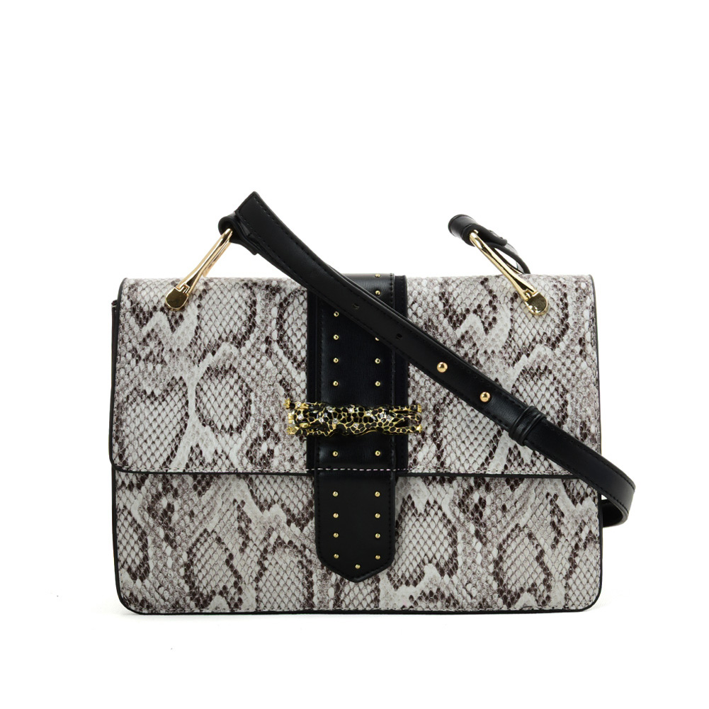 VK2119 Beige - Snakeskin Cross Body Bag For Women With Buckle Design