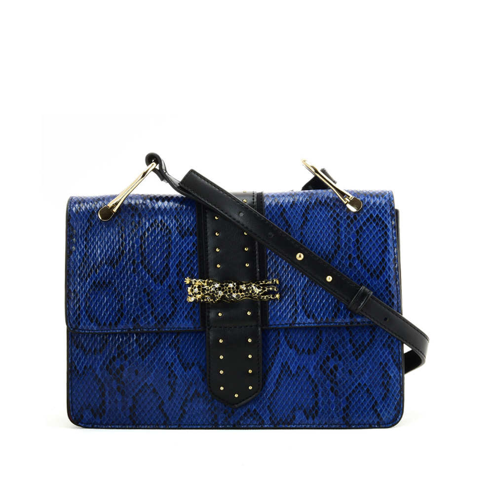 VK2119 Blue - Snakeskin Cross Body Bag For Women With Buckle Design