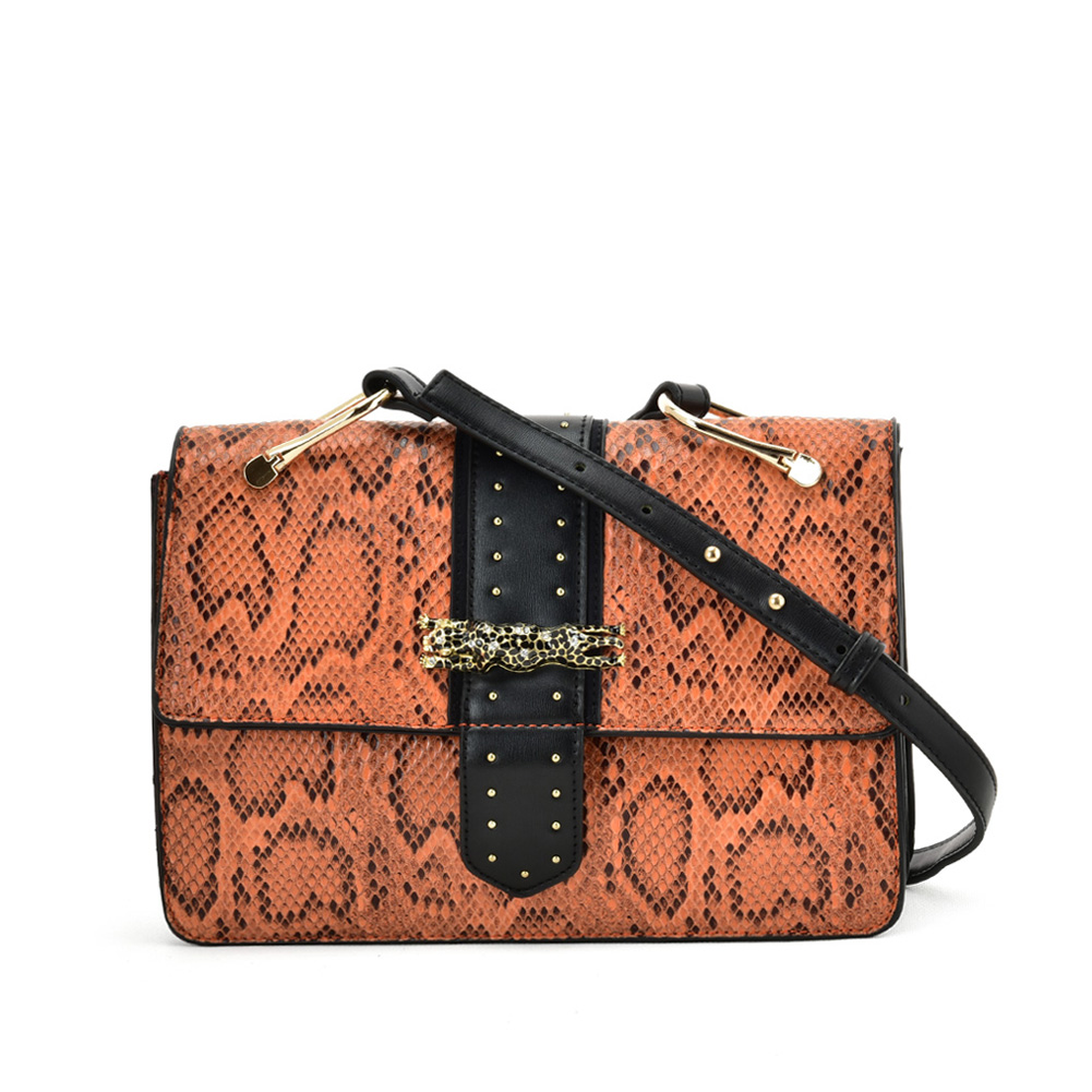 VK2119 Orange - Snakeskin Cross Body Bag For Women With Buckle Design