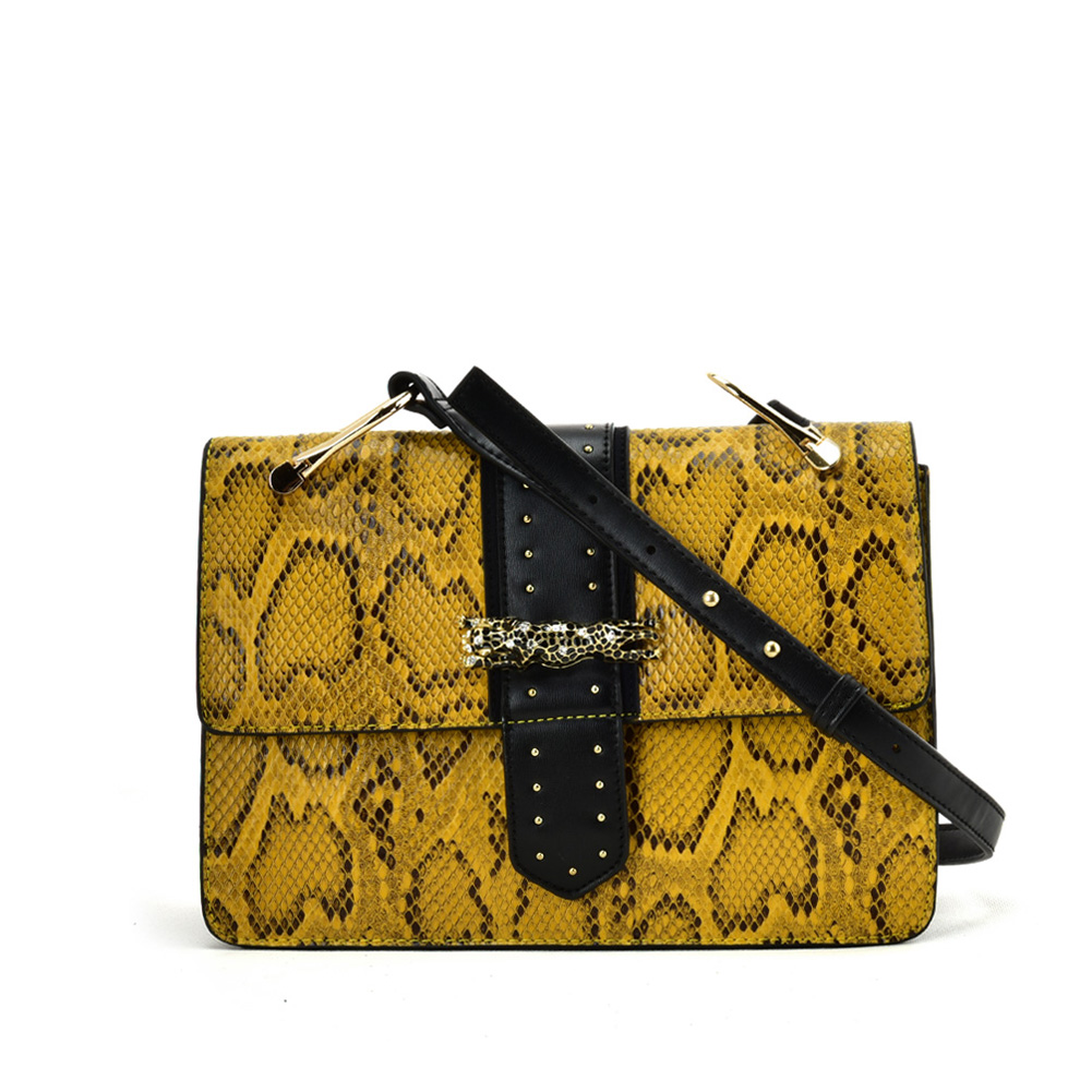 VK2119 Yellow - Snakeskin Cross Body Bag For Women With Buckle Design
