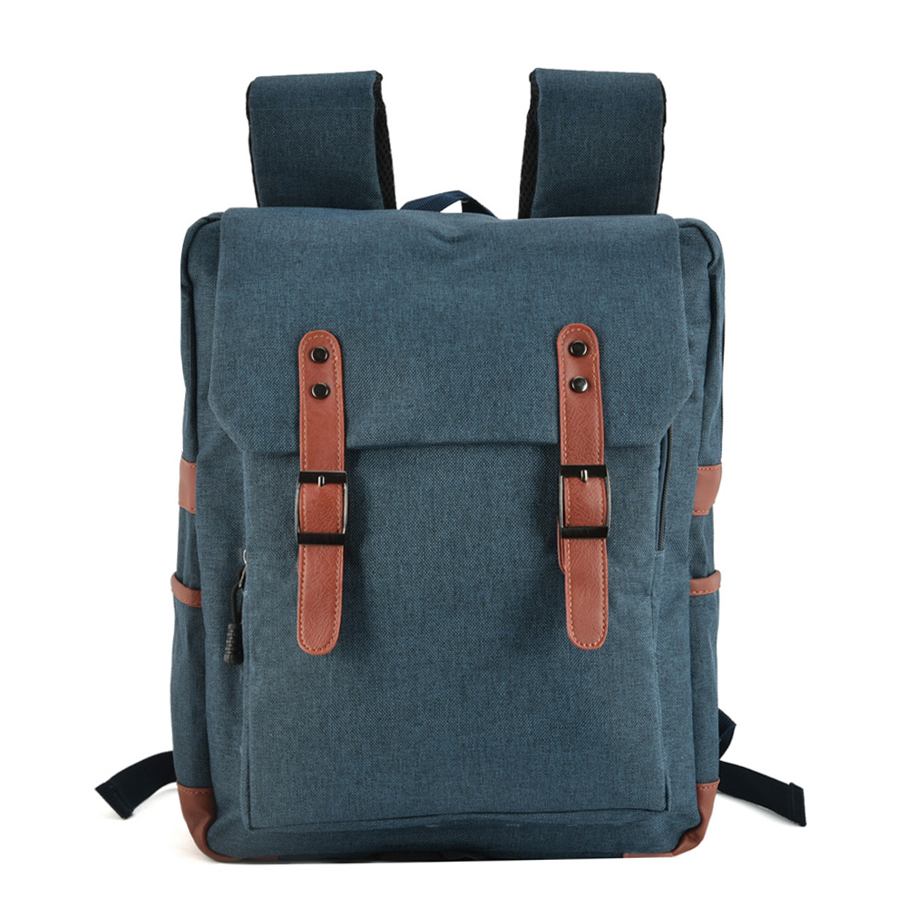 VK5045-1 Blue - Simple Solid Flap Square Backpack