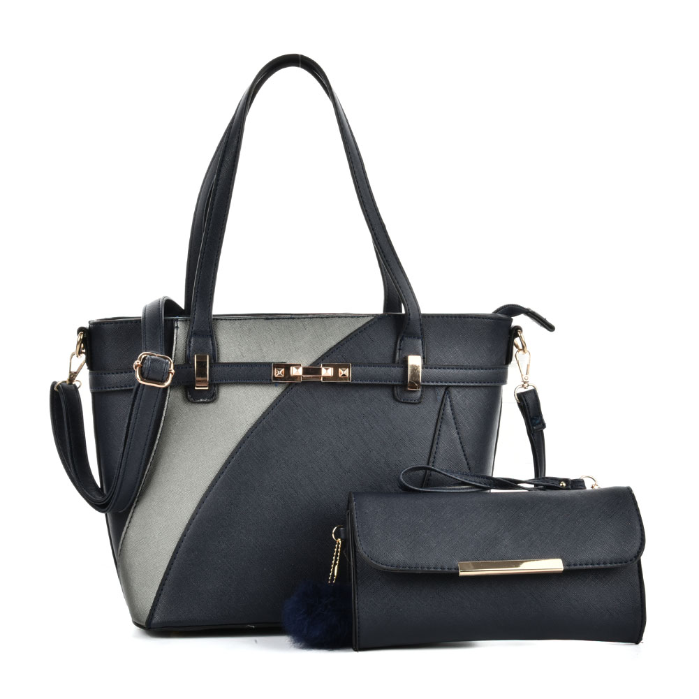 VK5128 Blue - Fashion Women Irregular Patchwork Handbag & Purses Set