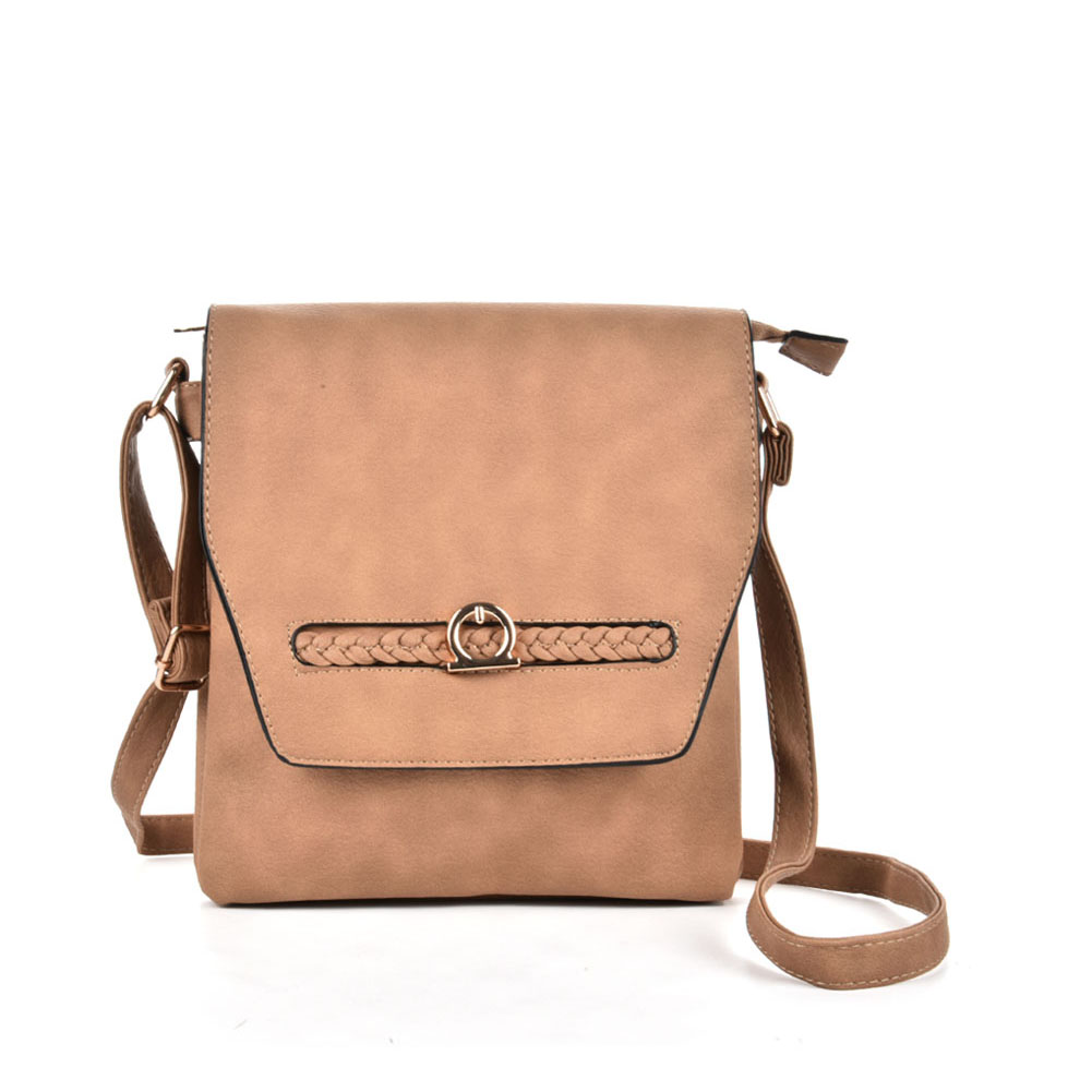 VK5153 Apricot - Fashion Women Solid Woven Decoration Crossbody Bags