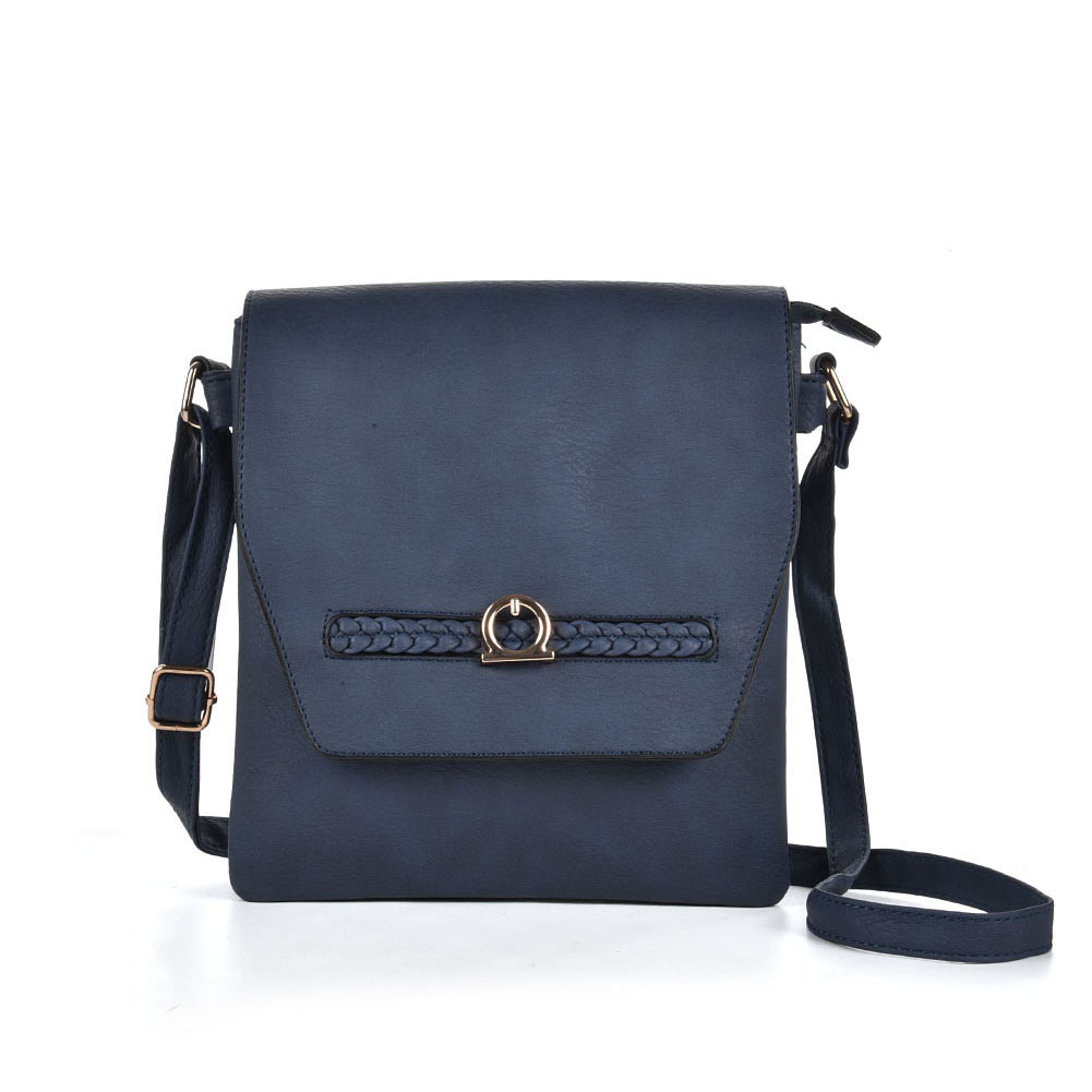 VK5153 Blue - Fashion Women Solid Woven Decoration Crossbody Bags