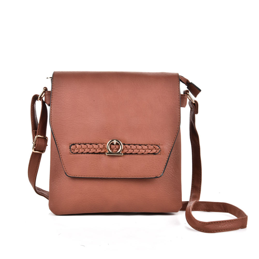 VK5153 Brown - Fashion Women Solid Woven Decoration Crossbody Bags