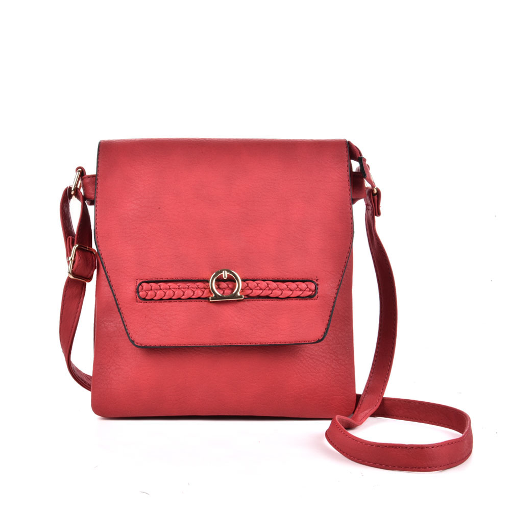 VK5153 Red - Fashion Women Solid Woven Decoration Crossbody Bags