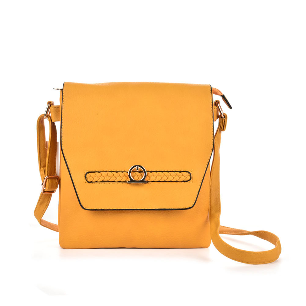 VK5153 Yellow - Fashion Women Solid Woven Decoration Crossbody Bags