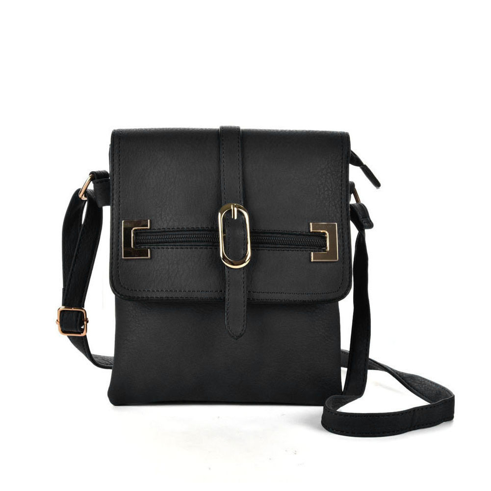 VK5156 Black - Women Solid Zipper Decoration Handbags