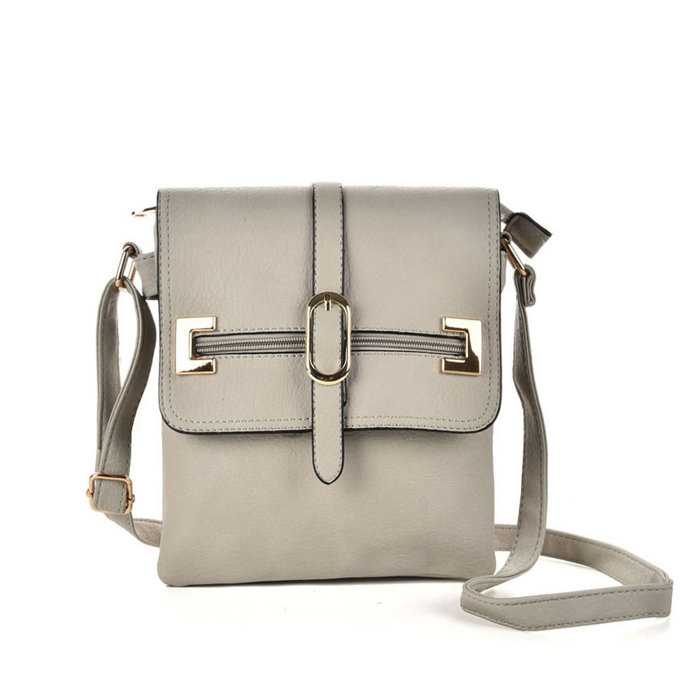 VK5156 Grey - Women Solid Zipper Decoration Handbags