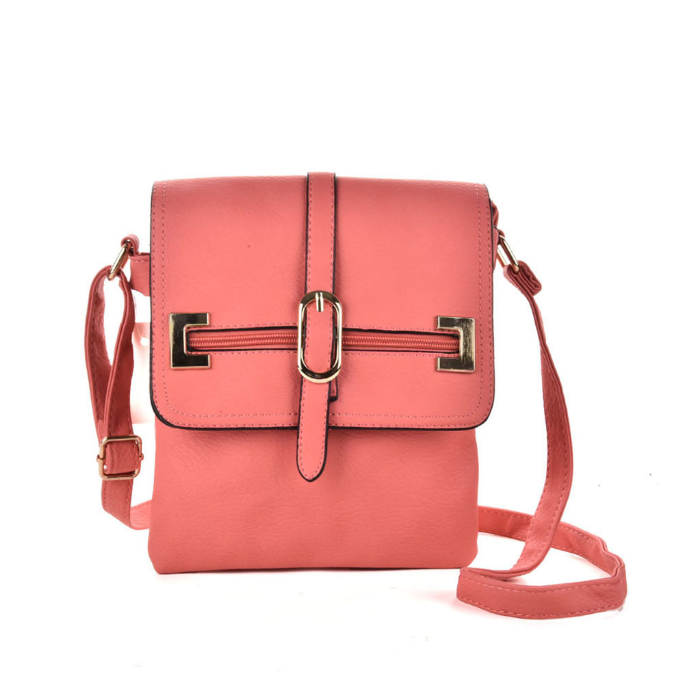 VK5156 Pink - Women Solid Zipper Decoration Handbags