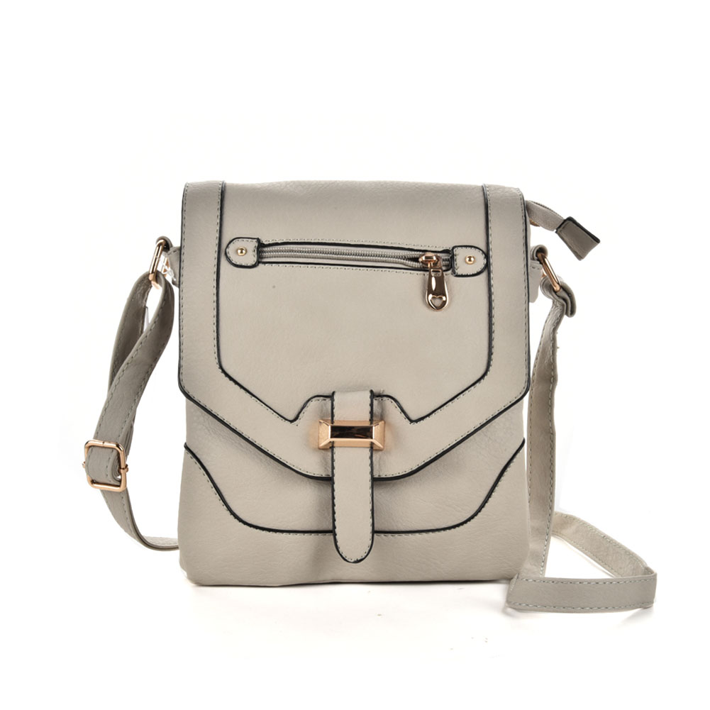 VK5158 Grey - Women Patchwork Metal Decoration Handbags