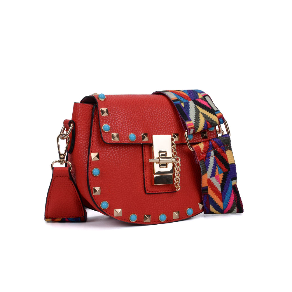 VK5165 Red - Semicircle Women Chic Rivet Decoration Handbag
