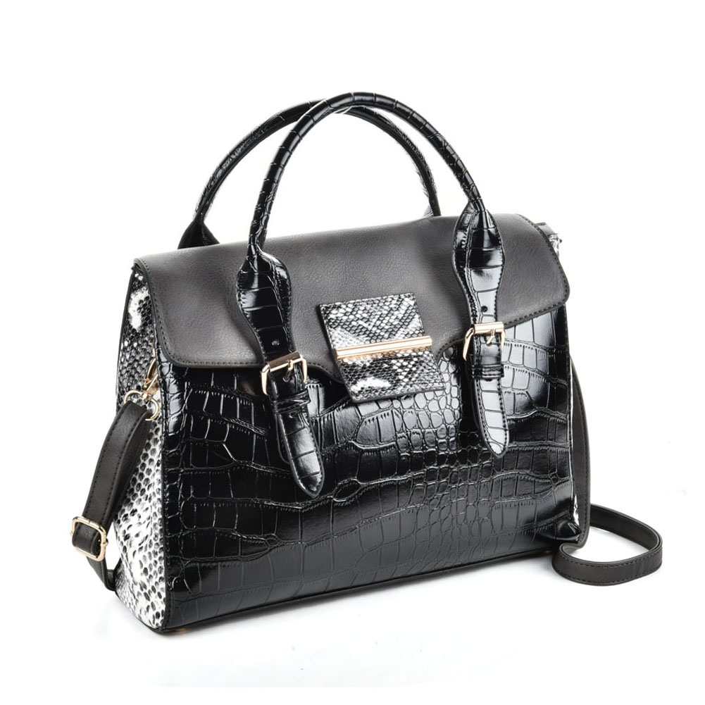 VK5181 Black - Fashion Crocodile Pattern Women Patchwork Handbag