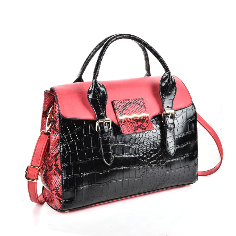 VK5181 Red - Fashion Crocodile Pattern Women Patchwork Handbag