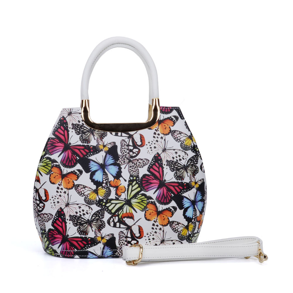 VK5186-1 White - Butterfly Pattern Fashion Women Handbag