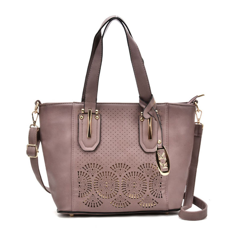 VK5198 Purple - Lady Laser Cut Perforated Large Tote Bag