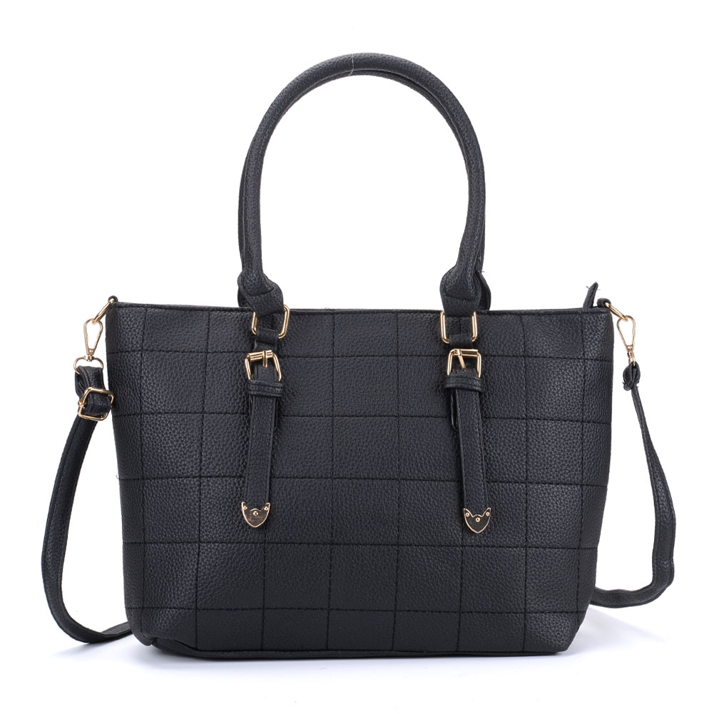 VK5221 Black - New Lady Large Quilted Tote Bag