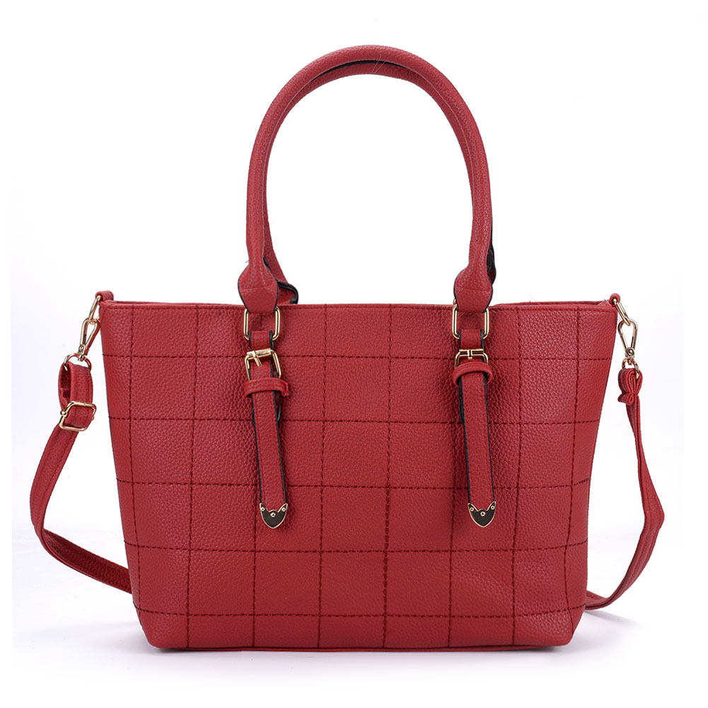 VK5221 Red - New Lady Large Quilted Tote Bag