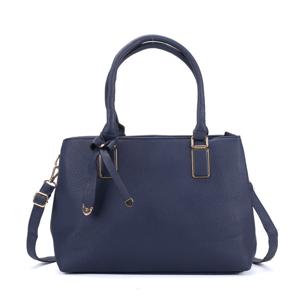 VK5223 Dark Blue - Women Tote Bag With Bowknot