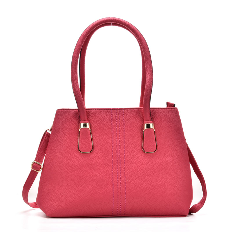 VK5225 Fushia - Lady Plain Metal Detail Tote Bag