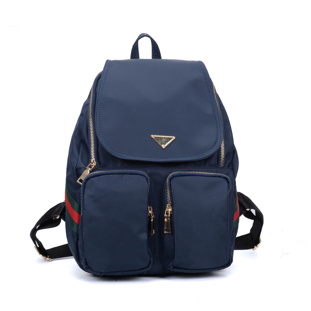 VK5277 Blue - Solid Patchwork School Bag Student Backpack