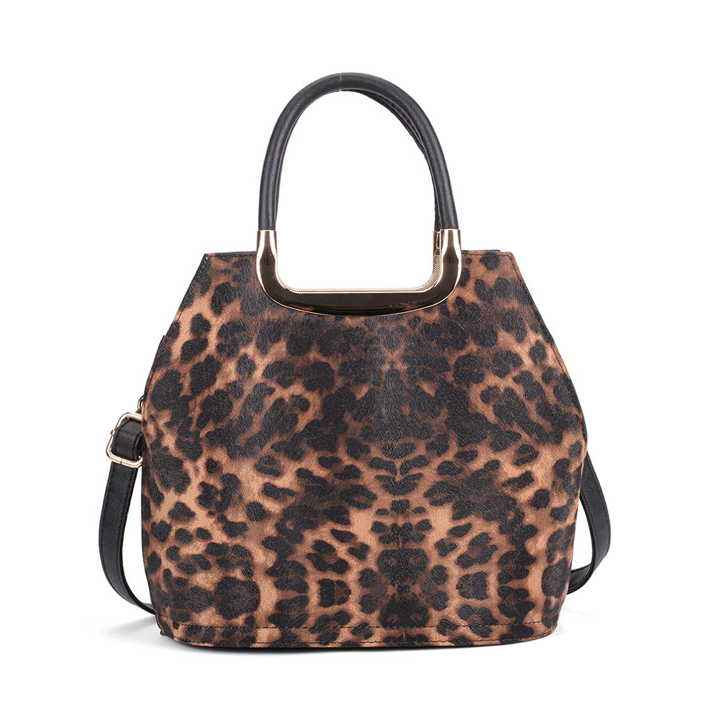 VK5311 Brown - Leopard Print Tote Bag With Metal Detail