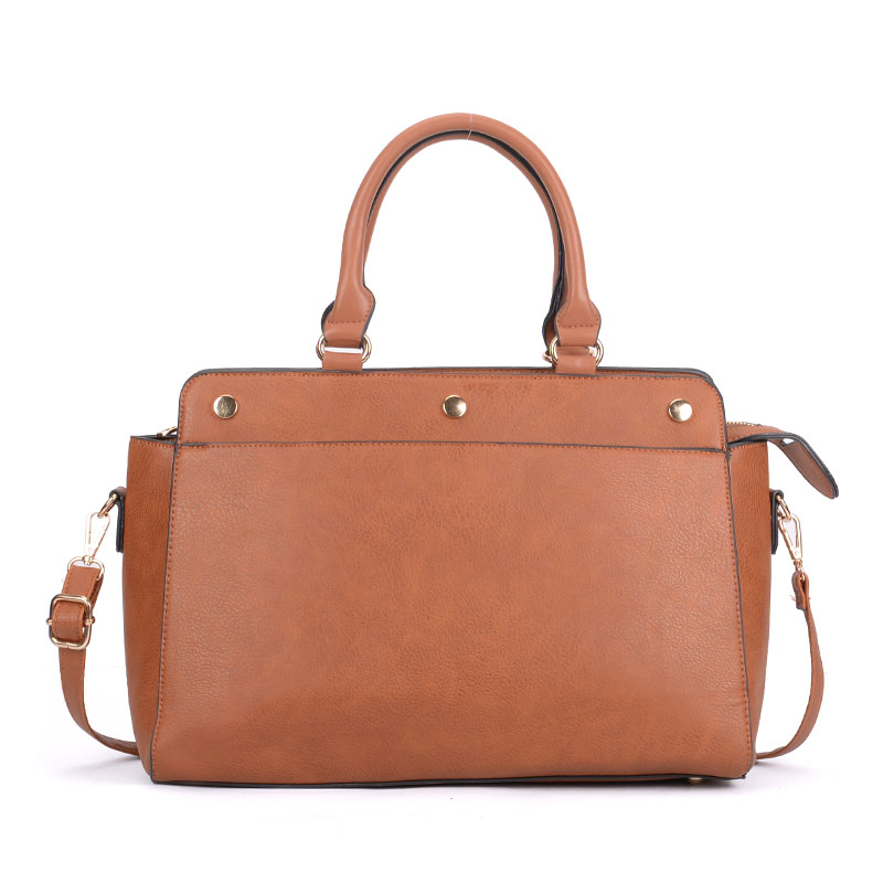 VK5317 Brown - Plain Oversized Women Tote Bag With Strap