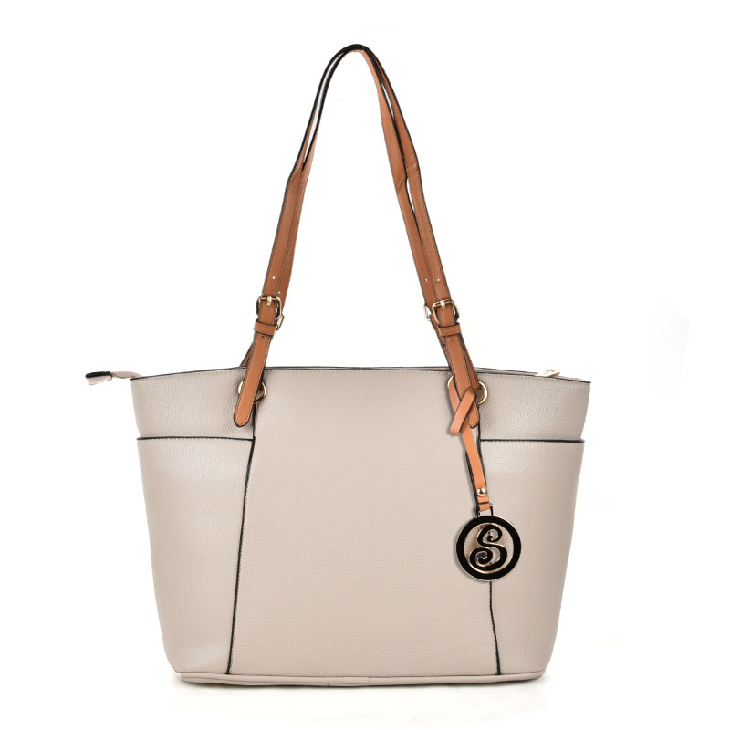 VK5319 Beige - Oversized Tote Bag With Contrast Tan Straps