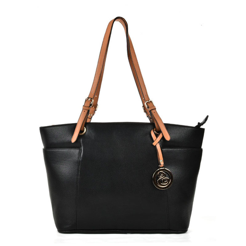 VK5319 Black - Oversized Tote Bag With Contrast Tan Straps