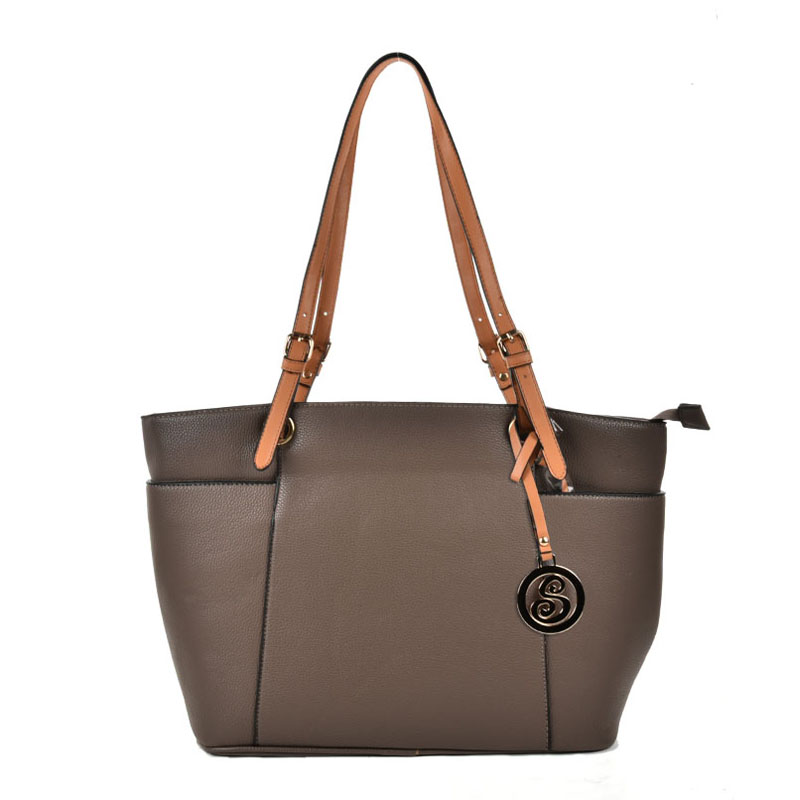 VK5319 Camel - Oversized Tote Bag With Contrast Tan Straps