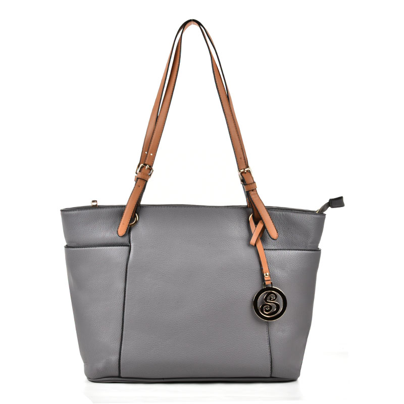 VK5319 Grey - Oversized Tote Bag With Contrast Tan Straps