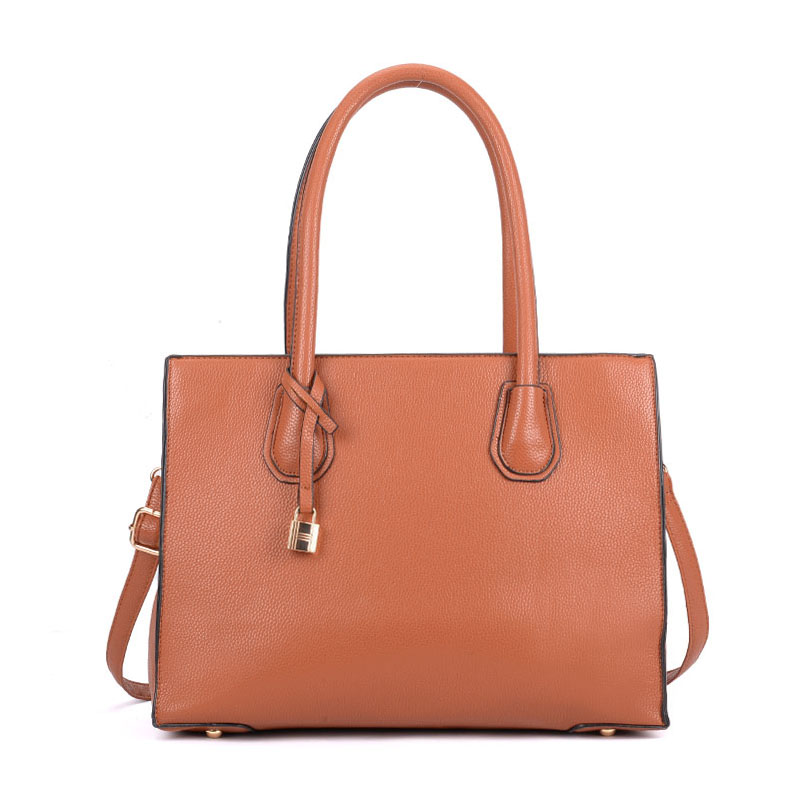 VK5321 Brown - Large Boxy Tote Bag With Lock Decoration