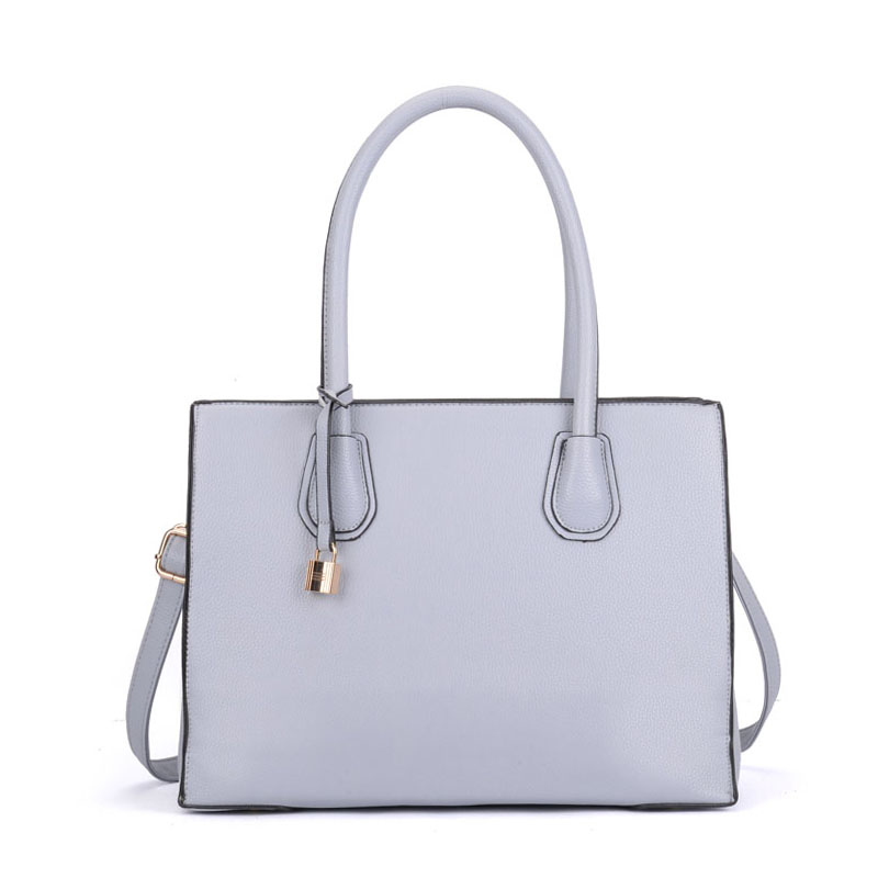 VK5321 Grey - Large Boxy Tote Bag With Lock Decoration