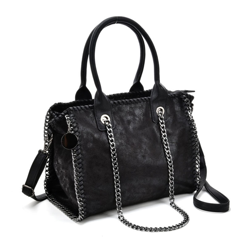 VK5326 Black - Hot Sale Chain Weave Side Bucket Bag