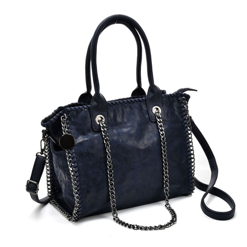 VK5326 Blue - Hot Sale Chain Weave Side Bucket Bag