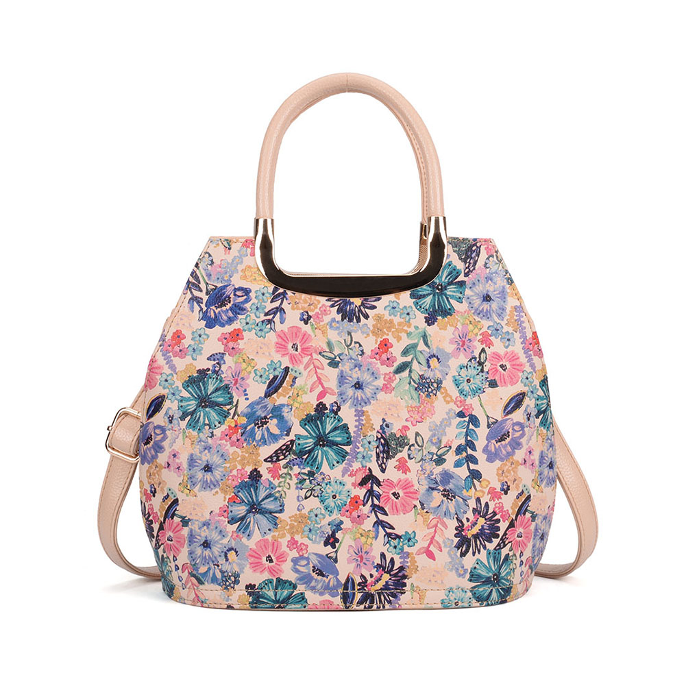 VK5331 Beige - Floral Print Large Tote Bag With Metal
