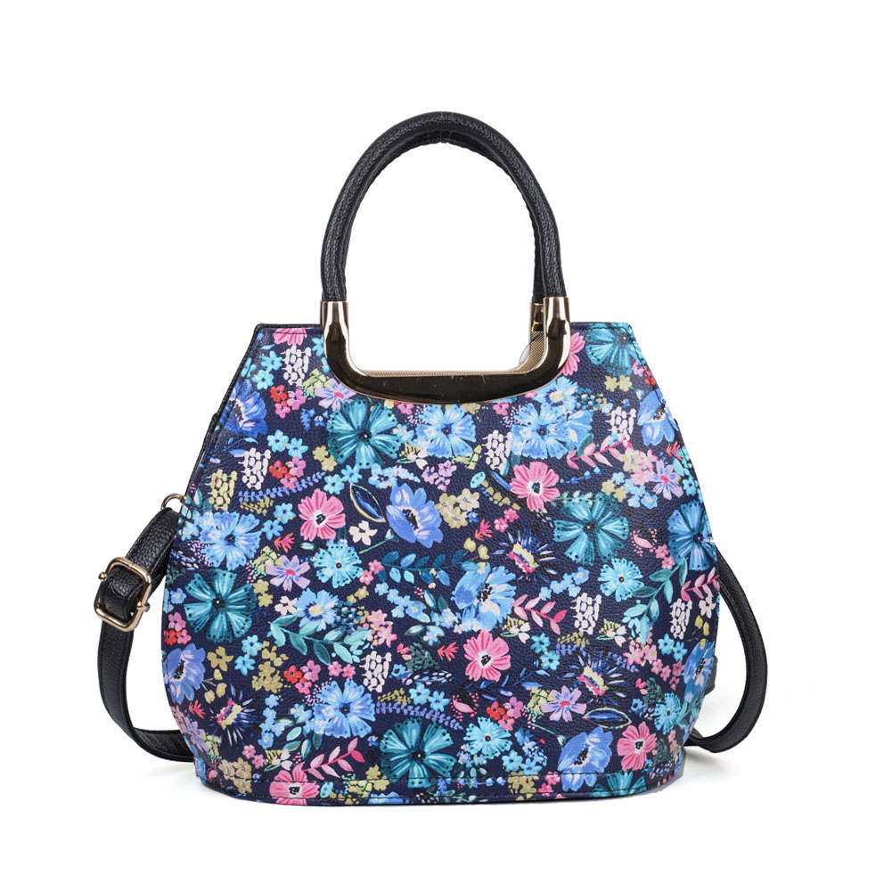 VK5331 Black - Floral Print Large Tote Bag With Metal