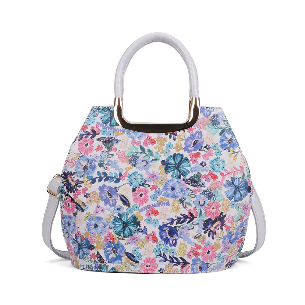 VK5331 Grey - Floral Print Large Tote Bag With Metal