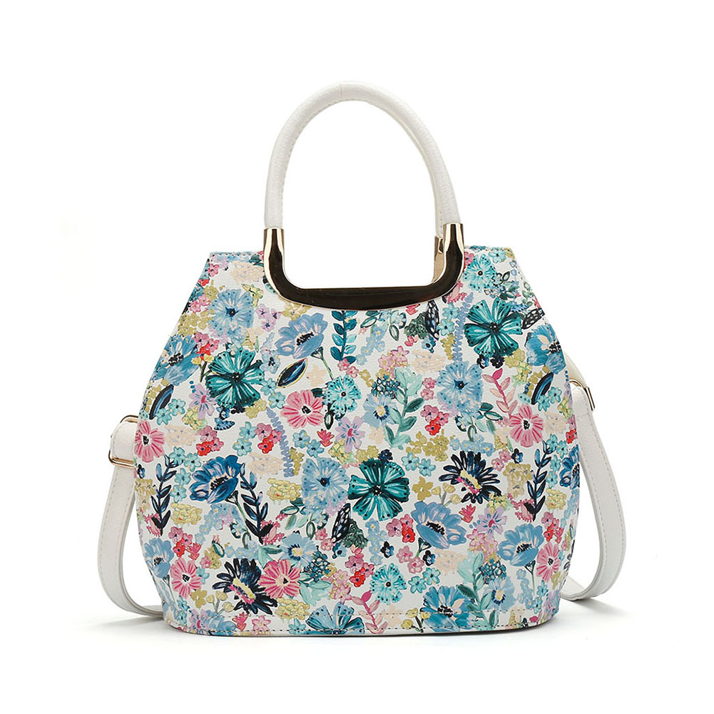 VK5331 White - Floral Print Large Tote Bag With Metal